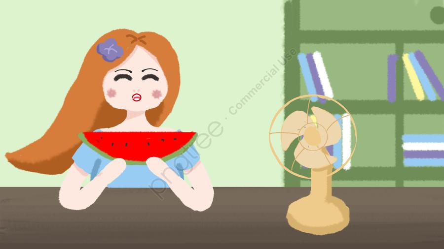 Little Girl Blowing A Fan Eating Watermelon In Summer, Summer, Summer, Little Girl llustration image