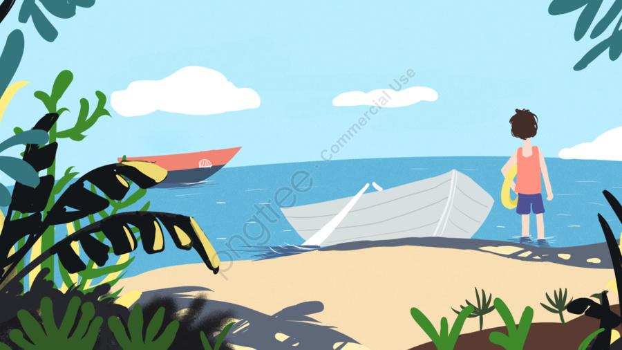夏日處暑海邊原創插畫, 處暑, 二十四節氣, 海邊 llustration image