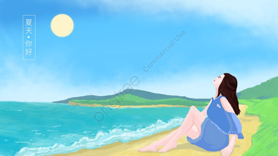 गर्मियों की छुट्टी समुद्र तट, गर्मी, छुट्टी, आउटडोर पर्यटन llustration image