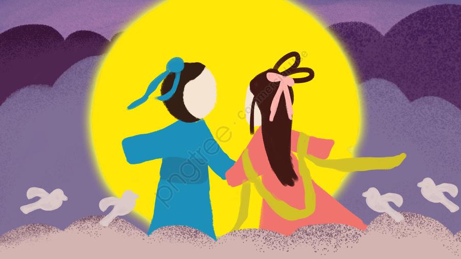 Qixi Niu Lang Weaver Girl Namoro Original Pintados à Mão Lua Pequena Ilustração, Tanabata, Dia Dos Namorados, Festival Qixi llustration image