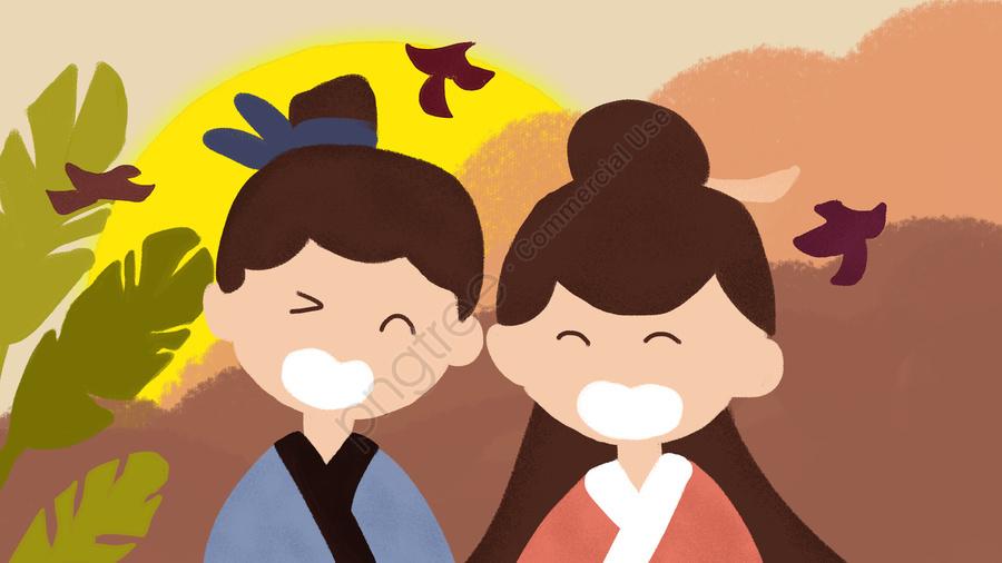 Qixi Niu Lang Weaver Namoro Original Pintados à Mão Ilustração Dia Dos Namorados Pequeno Fresco, Tanabata, Dia Dos Namorados, Sete Sete Dia Dos Namorados llustration image