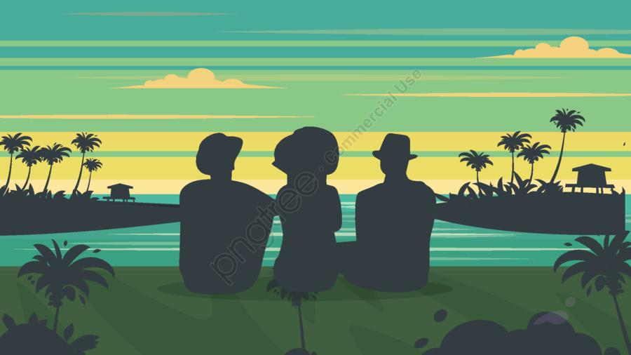 여름 여행 일몰보기 열대 프리 강물 코코넛 나무, 여행, 뒤로보기, 트로피컬 llustration image