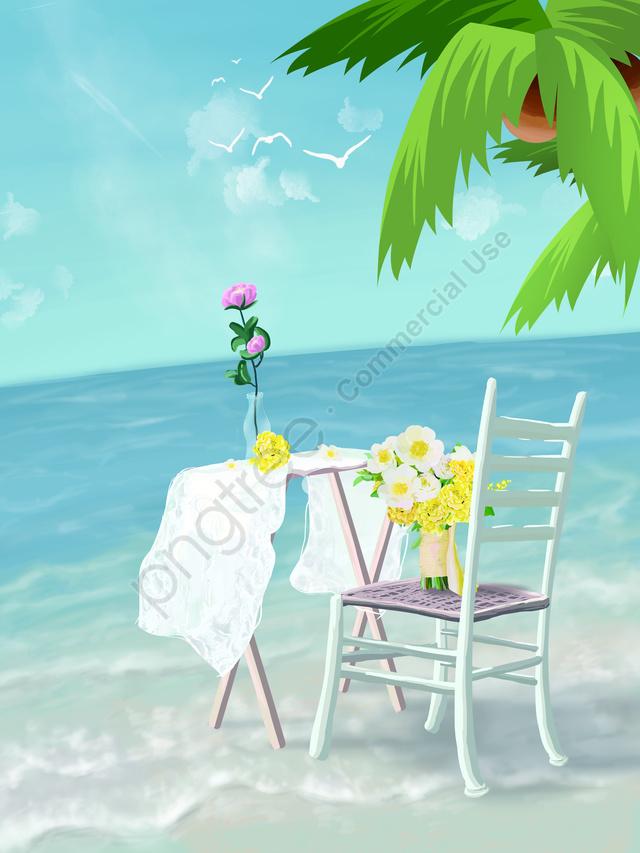 оригинальный отдых на море, отпуск в отпуске, наручные цветы, скатерть llustration image