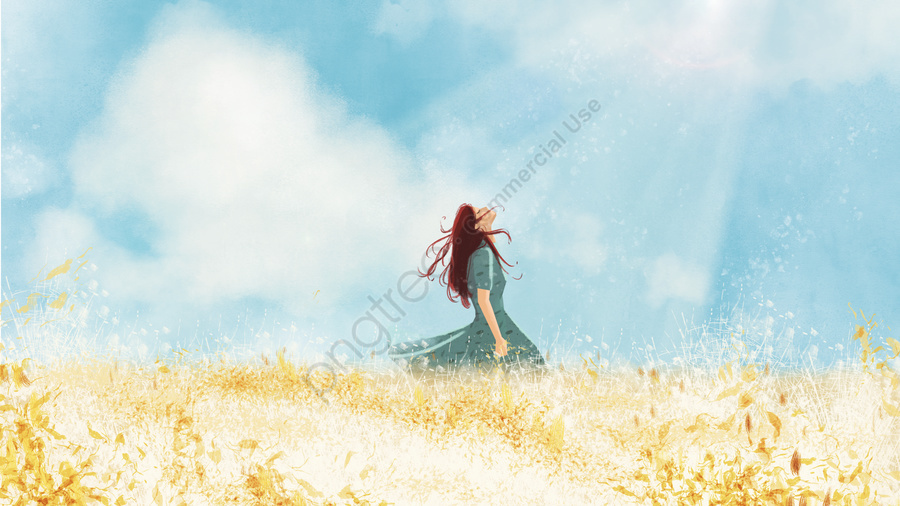 Blue sky white clouds catcher girl illustration, Wheat Field, Blue Sky, White Clouds llustration image