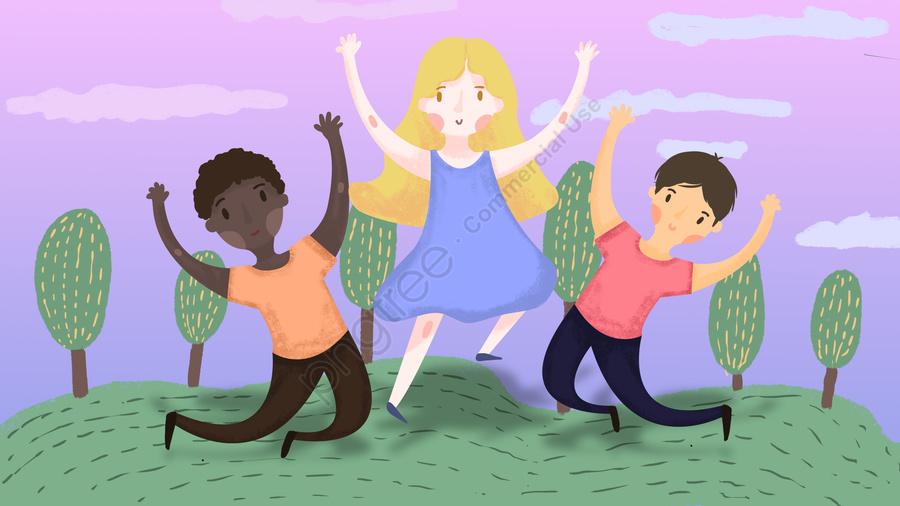 世界ユースデーの歓声とジャンプ, 世界ユースデー, 青少年, 活力 llustration image