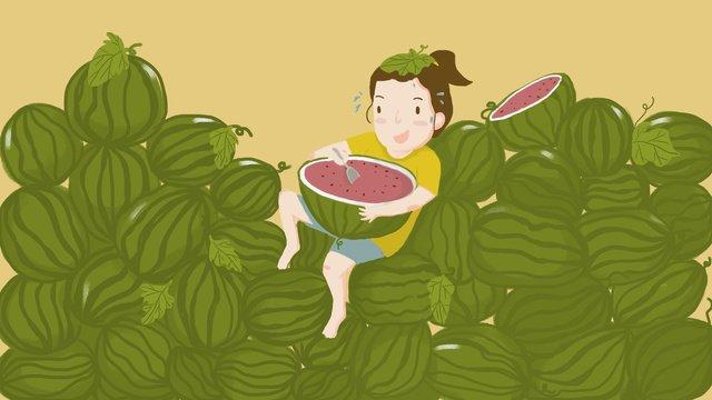 大暑24節氣  大暑  西瓜PNG和PSD圖片素材 illustration image
