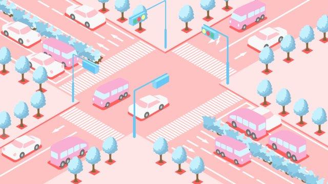 小さな新鮮な2 5d文明旅行の交差点のシーンの絵 イラスト素材 イラスト画像