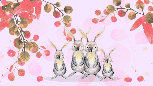 かわいくて素敵な花を持つ小さな動物の原画 イラスト素材 イラスト画像