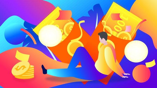 금융 빨간 봉투 금화 복권 유체 벡터 일러스트 레이션 승리 삽화 소재