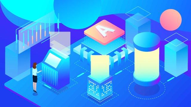 2 5 डी रोबोट स्मार्ट ऑफिस ब्लू टेक्नोलॉजी ग्रेडिएंट चित्रण चित्रण छवि