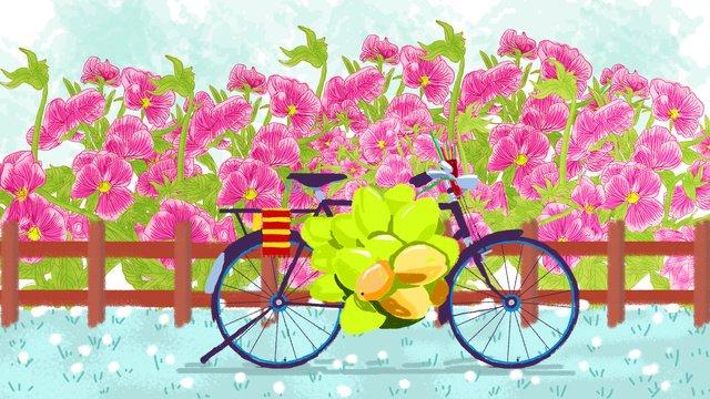 8月你好花朵自行車插畫 插畫素材