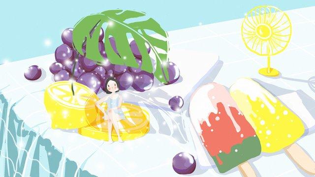 August hello girl fruit summer illustration llustration image