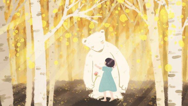 Autumn forest white bear with little girl hand drawn illustration, Autumn Day, Forest, Polar Bear illustration image