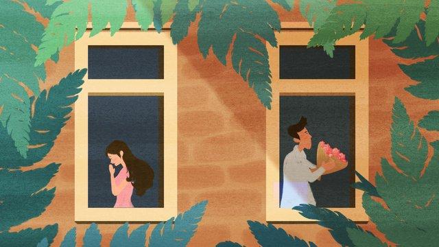 原創插畫窗前情侶 插畫素材 插畫圖片