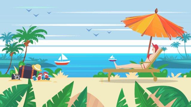일광욕을하는 해변에서 수영하는 사람들 삽화 소재