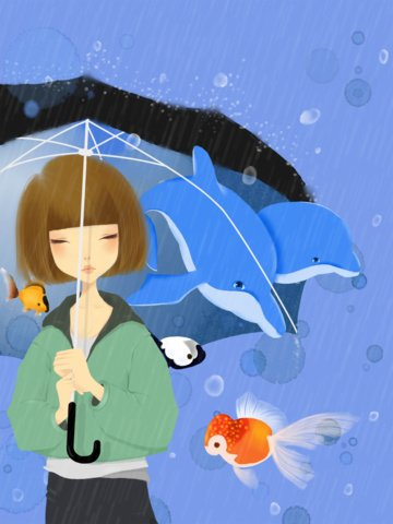 ocean day small fresh and beautiful girl goldfish dolphin illustration original imej ilustrasi