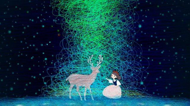 Beautiful girl and deer original coil impression healing system illustration, Beautiful, Girl With Deer, Original illustration image