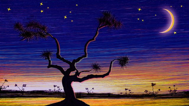 scene illustration beautiful night view original coil impression cure system llustration image