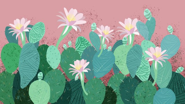 美しい小さな新鮮なサボテンの開花グリーンイラストレーション イラスト素材