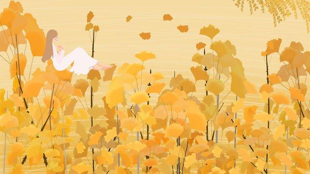 ginkgo biloba và cô gái minh họa Hình minh họa Hình minh họa