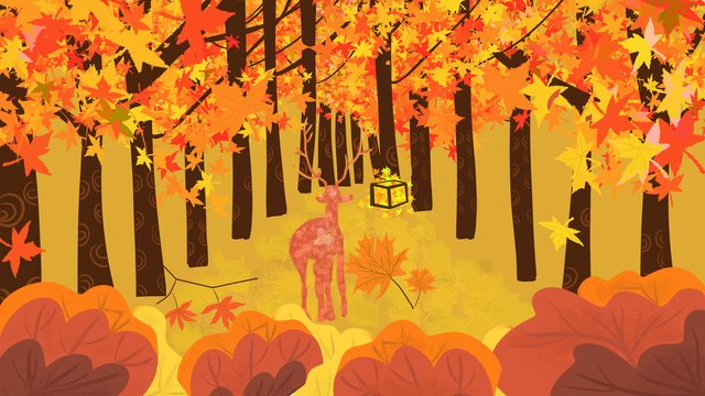 the autumn fall festival illustration of beautiful deer in golden yellow llustration image