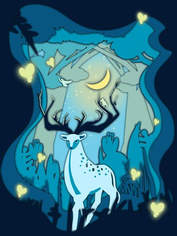 鹿と青い底紙カット風治療システム図の森 イラスト画像