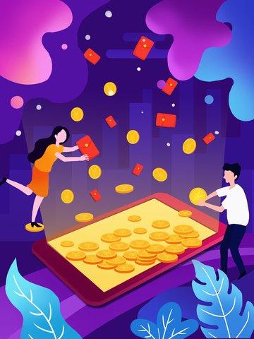 Голубая жидкость градиент финансовых красный конверт иллюстрация Ресурсы иллюстрации