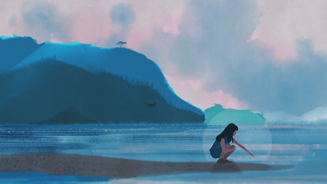 Blue sea sunset girl with whale hand drawn illustration, Blue, Sea, Sunset illustration image