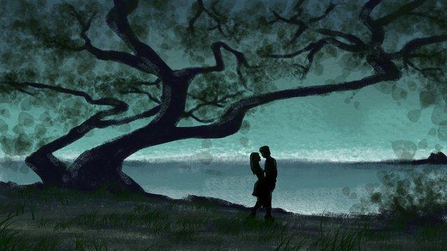 hand painted retro texture   under the tree enjoy cool couple llustration image illustration image