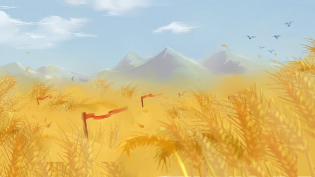 青い空、麦畑、イラスト イラスト素材