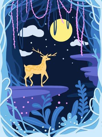rừng xanh tươi với giấy hươu cắt gió minh họa Hình minh họa