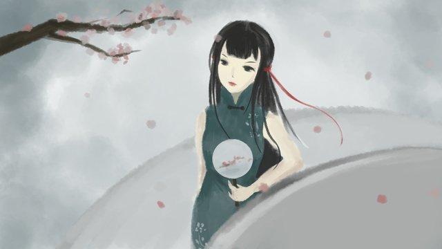 橋の上で花見をするのはチャイナドレスを着ます イラスト素材 イラスト画像