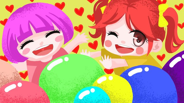 Original illustration cute two children, Bright, Joy, Lovely illustration image