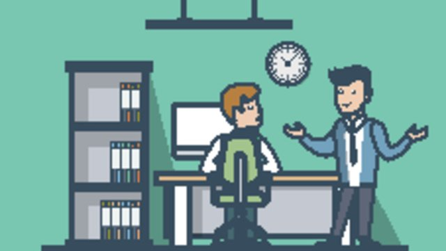 Office character cartoon blue background business workplace, Business Office, Cartoon Workplace Character, Blue Background illustration image