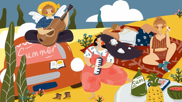 Summer seaside party travel illustration, Car, Playing Guitar Girl, Long Hair Blowing Harmonica Girl illustration image