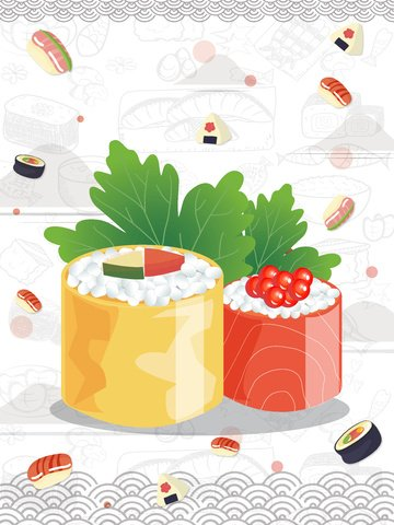 Creative hand-painted sushi food - japanese cuisine illustration, Cartoon Sushi, Hand Drawn Cuisine, Japanese Cuisine illustration image