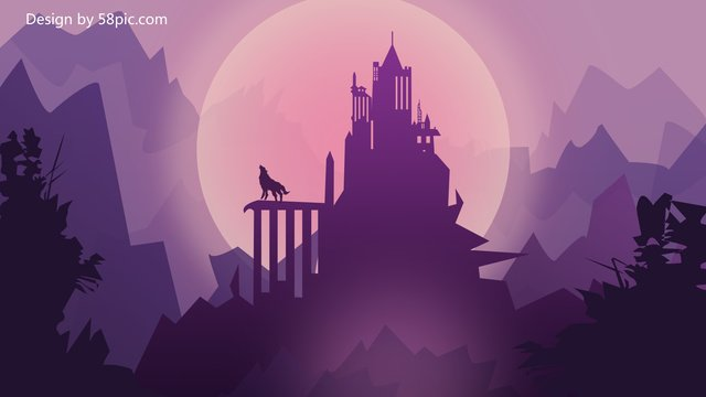 Castle gradient flat style original illustration, Castle, Gradient Flat Style Original Illustration, Purple Pink Gradient illustration image