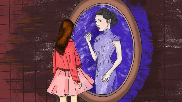 Cheongsam love, Cheongsam, Woman Wearing Cheongsam, Girl illustration image