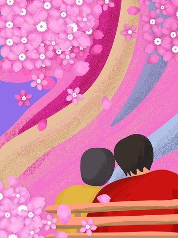 Original illustration cherry blossom lovers park flowers beautiful romantic, Cherry Blossoms, March, Pink illustration image