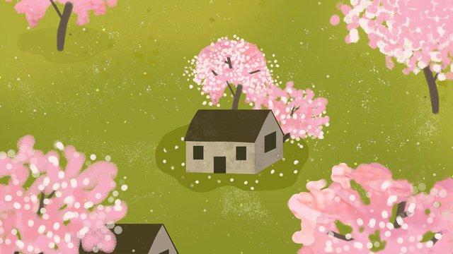 Cherry blossom tree under small fresh season travel illustration, Cherry Blossoms, Under The Cherry Tree, Small Fresh illustration image