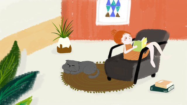 hand drawn home little girl kitty cure system illustration llustration image illustration image