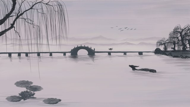 pavilion on the mountain of chinese painting  ancient
