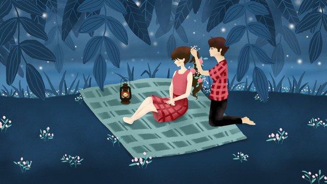original illustration tanabata valentines day night riverside couple llustration image illustration image