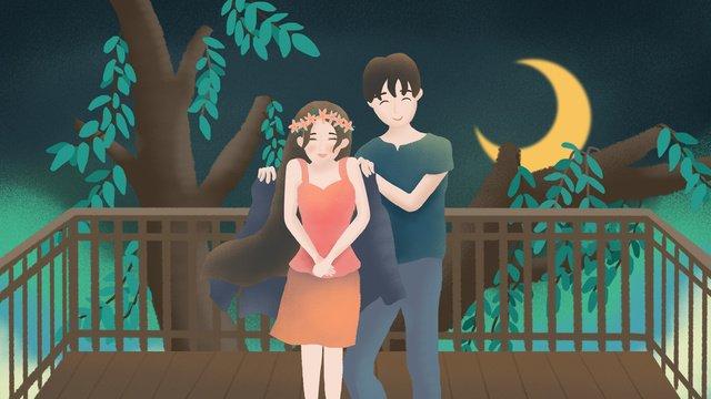 original illustration tanabata valentines day night couple llustration image illustration image