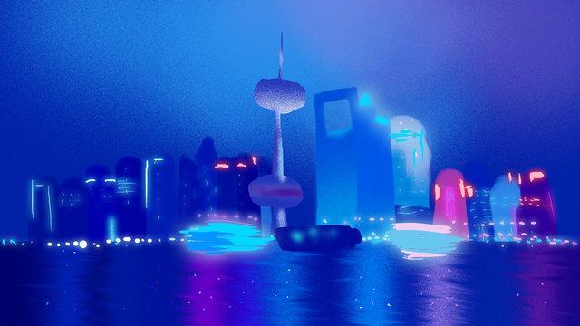 Du lịch thành phố shanghai minh họaThành  Phố  Ấn PNG Và PSD illustration image