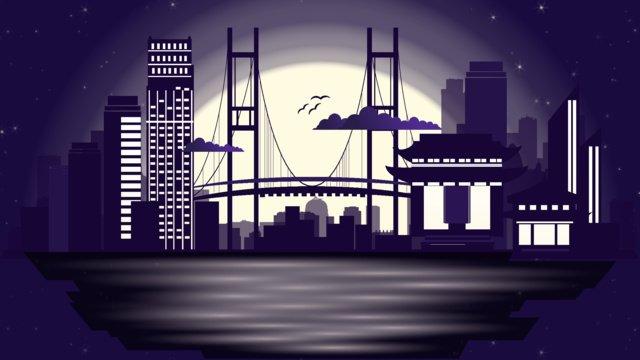 도쿄도 도시 실루엣 일러스트 삽화 소재