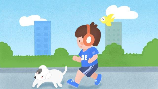 城市可愛小男孩跑步健身兒童插畫 插畫素材