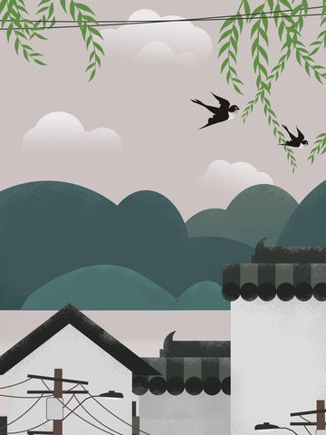 복고풍 오리지널 산수 풍경 삽화 삽화 소재