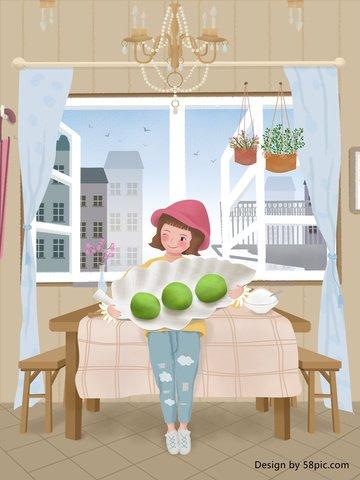 original illustration home clearing fruit girl llustration image