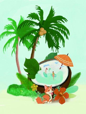 Original illustration summer coconut tree dog and sea, Coconut Tree, Pet Dog, Summer illustration image
